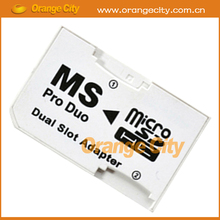 Micro SD SDHC TF to Memory Stick MS Pro Duo Adapter Dual slot adapter Converter Card Reader for PSP Camera 50pcs/lot