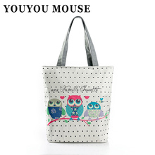 YOUYOU MOUSE Owls And Floral Printed Canvas Shoulder Bag Ladies Handbag Large Capacity Casual Style Square Zip Bags Gifts
