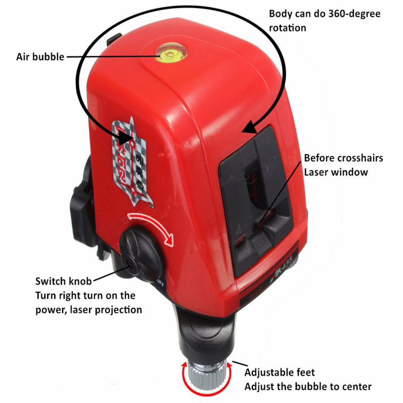 AK435 360 degree Self-leveling Cross Laser Level Red 2 Line 1 Point<br>