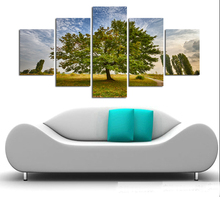5pcs Wall Art setting sun Sunshine HD Picture Home Decoration Canvas Print Green Tree Grassland Scenery Paintings A123 no frame