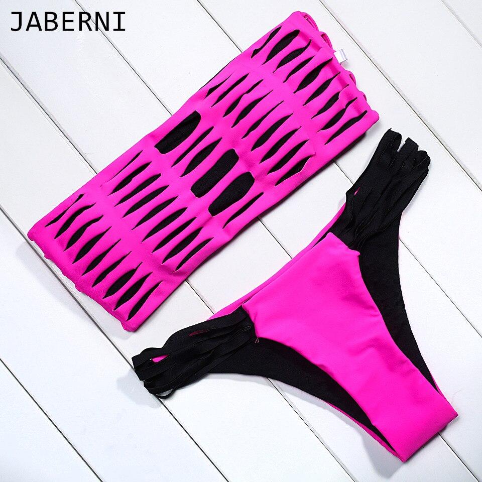 JABERNI sexy bandeau bikini set women swimsuit low waist bottom bikini vintage rose red patchwork swimwear brand bikini<br><br>Aliexpress