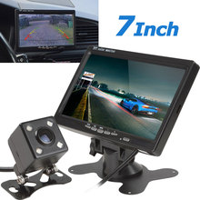7 Inch TFT LCD Color 2 Video Input Car Rear View Headrest Monitor DVD VCR Monitor + 420 TV Lines 170 Degrees Camera
