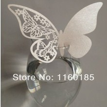 Sale Free Shipping 60pcs White Butterfly Place Card Cup Paper Escort Card Table Name card Wine Glass Wedding Favors Party Decor
