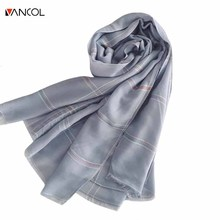 Vancol 2017 New Long Cotton Linen Pink Scarf Ladies Plaid Silk Beach Sun Shawl Scarf Shade Luxury Poncho Long Solid Women Scarf(China)