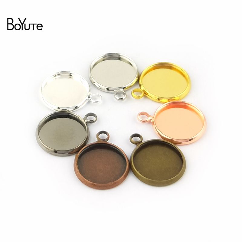 BoYuTe 50Pcs 6 Colors Plated Round 10MM 12MM 14MM 16MM 18MM 20MM 25MM Cameo Cabochon Base Diy Blank Tray Pendant Base (2)