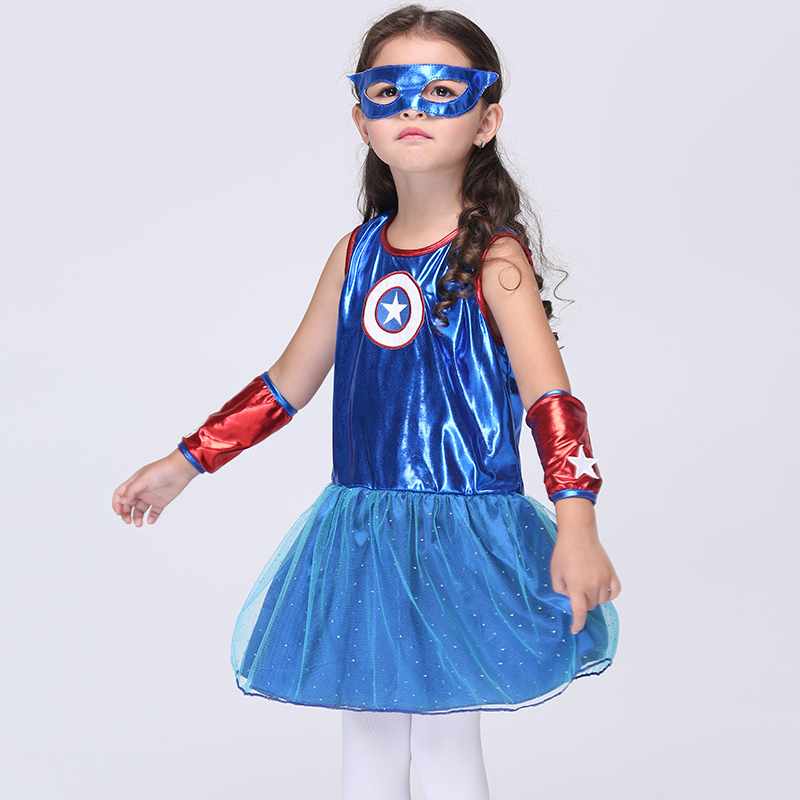 Halloween Party Cosplay Costume Childrens Day Make Up Party Dress Children Girls Cosplay Superman Dance Dress Suit<br><br>Aliexpress