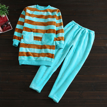 Winter Brand Homewear Couples Casual Striped Pajama sets Women Coral Fleece Sleepwear suit Ladies Round collar shirts + pants(China)