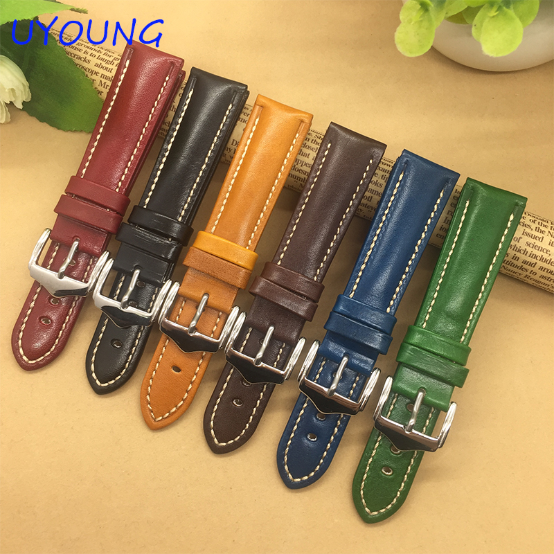 High Quality Genuine Leather Watchband 18mm 20mm 22mm For Mens Women Black/Blue/Red/Brown/ Watch Strap<br><br>Aliexpress