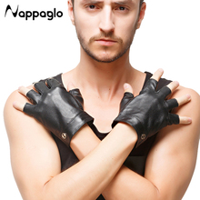 Nappaglo Mens Motorcycle Gloves GYM Fitness Sports Wrist Genuine Leather Glove Driving Sheepskin Half Finger Cycling Gloves(China)
