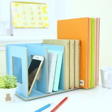 Creative DIY Book Shelf Wood Desktop Storage Shelf Organizer Box Office File Magazine Rack Holders