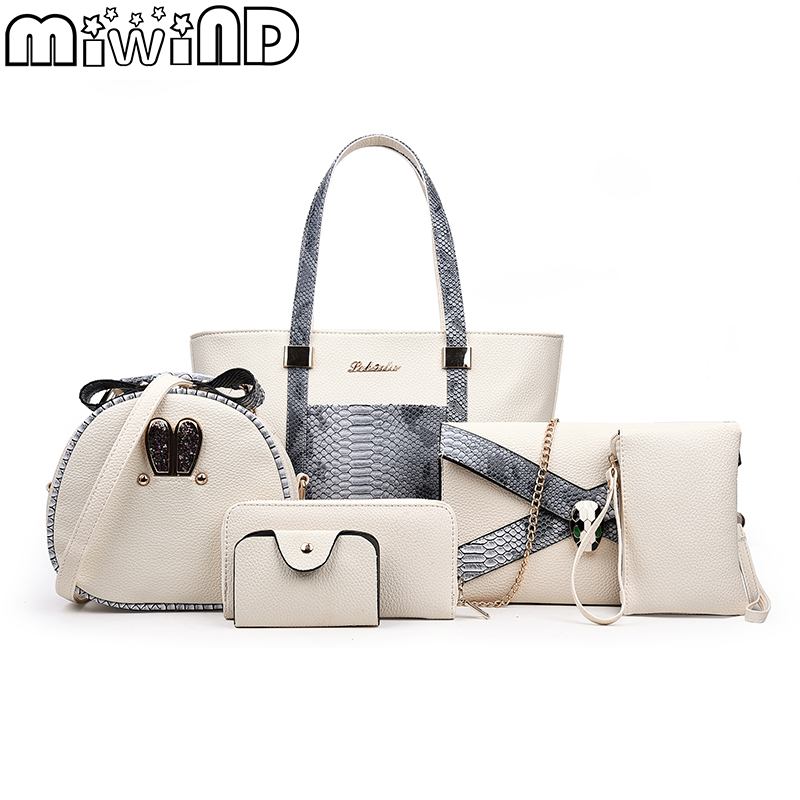 MIWIND 2018 New Women handbags Fashion Snake PU Leather Tote Female Shoulder &amp; Crossbody Messenger Bag Clutch Wallet 6-Piece Set<br>