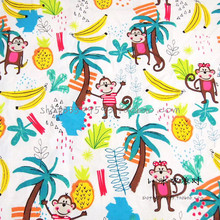 140X100cm White Background Moneky Banana Pineapple Polyester Cotton Fabric Baby Boy Cloth Sewing Hometextile Patchwork-AFCK390(China)