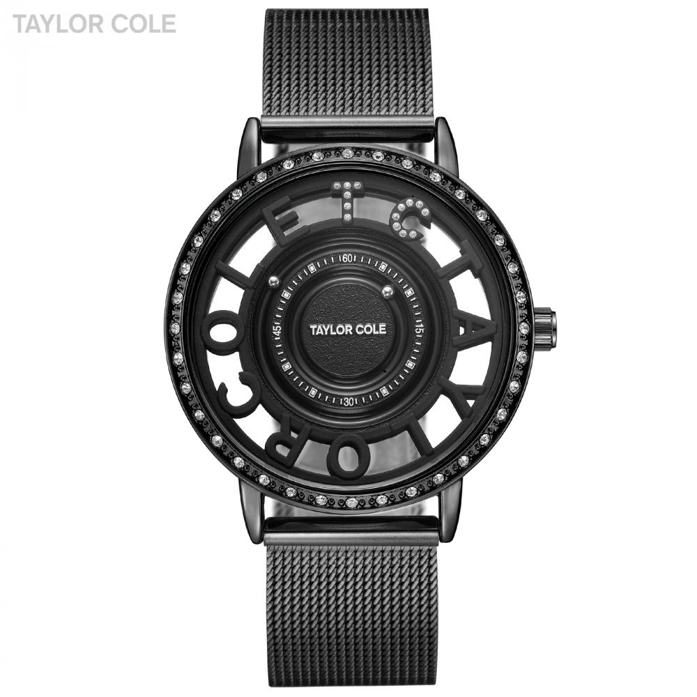 Taylor Cole Cool Full Black Style Women Watches Crystal Clock Luxury Ladies Watches Steel Strap Hodinky Women Quartz Watch/TC132<br>