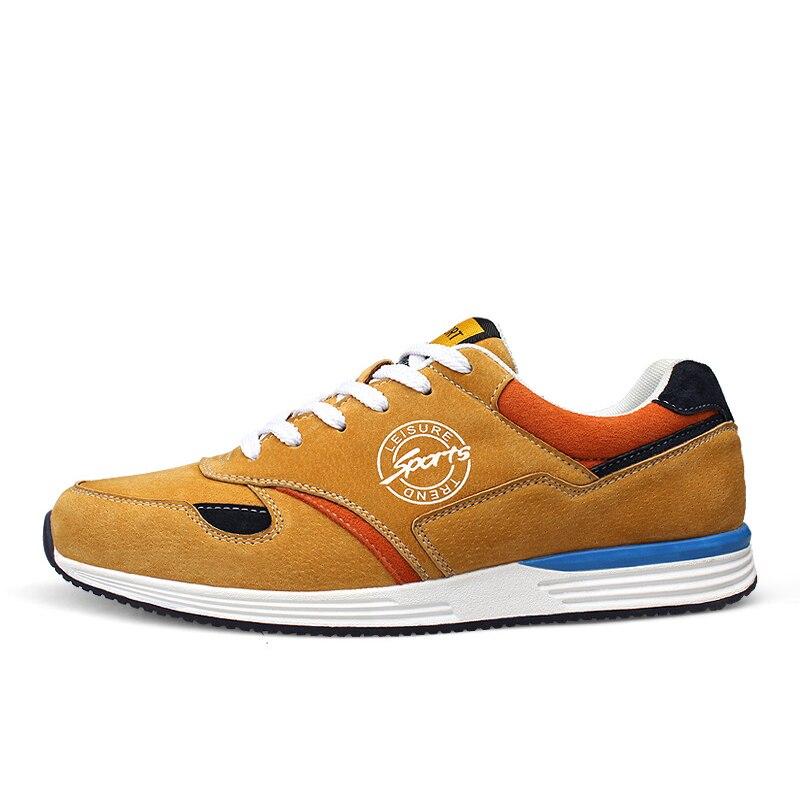 Genuine Leather Men Running shoes Comfortable Outdoor sports walking shoe Men sneakers Zapatillas Deportivas Hombre<br>