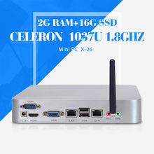 no noise less heat fan embedded computer Celeron C1037U 2g ram 16g ssd+wifi mini itx mother board mini pc with wifi and hdmi(China)
