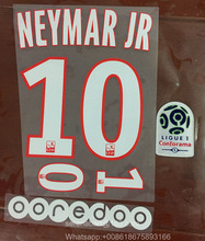 17/18 HOME #10 NEYMAR JR Nameset Printing + Ligue 1 PATCH and Sponsor Patch Soccer Badge(China)
