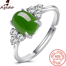 Agedo Jade 925 Sterling Silver Ring Adjustable Fine Jewelry Vintage Engagement Wedding Rings For Women's Rings luxury Gift Z20