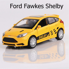 Car Models 1:32 Scale Ford Fawkes Shelby Alloy Car Toys For Children Vehicle Toy Metal Diecast Pull Back Sound Light 4 Colors