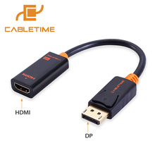 Cabletime DisplayPort DP to HDMI Cable Male/Female Adapter Display Port Cable Converter 1080P for Projector HP/Dell Laptop N006