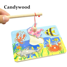 Kids Wooden Toys Educational Learning Wood Fishing Game Small Magnetic Puzzle Table Farm Brinquedo Fish Toys For Children(China)