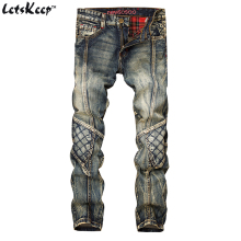 LetsKeep 2017 New patchwork Denim jeans for men biker skinny ripped jeans punk mens plaid Designer jeans pants clothing, MA356(China)