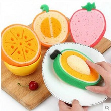 4pcs/set Cute Fruit Shape Microfiber Sponge Scouring Pad Cleaning Cloth Strong Remove Stains Thickened Sponge Kitchen Tools(China)