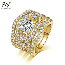 Luxury Fashion Gold Color 3 Pieces Ring Sets AAA+ CZ Cubic Zirconia Engagement Rings For Women Wholesale R711