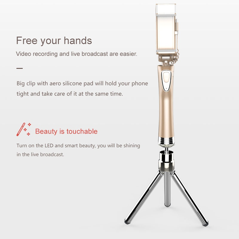 Selfie Stick with Rear Mirror Led Light Bluetooth Remote Shutter Monopod Fill Light for iPhone Samsung Android Phones K5