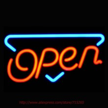 OPEN Neon Sign Handcrafted Neon Bulbs Real GlassTube Impact Club Lamp Decorate hotel Store Display Fast Restaurant sign VD17x14(China)