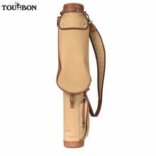 Tourbon Vintage Golf Club Carrier Pencil Style Canvas & Leather Golf Gun Bag Wax Waterproof Fleece Padded Interlayer Cover 84CM(China)