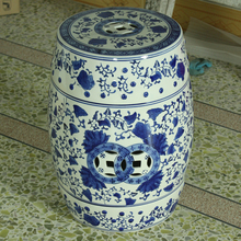 Blue And White Jingdezhen ceramic Antique home drum porcelain garden stool Glazed hand painted round chinese antique drum stool