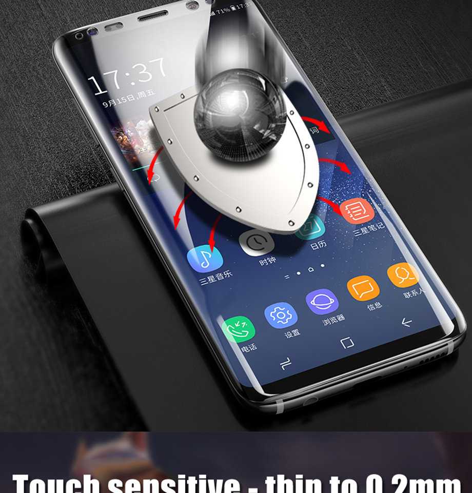 5-PC-For Samsung Galaxy S8 S9 Screen Protective For Samsung Galaxy Note 8 9 Film