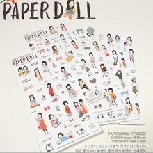 6 sheets / pack , Paper Doll Korean Style Cute kawaii Sweet Girl , planner stickers For Notebook Paper , Mobile Phone Deoration