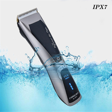 Professional Electric Hair Clipper Waterproof Rechargeable Salon Hair Trimmer Beard Shaver for Men LED Show Hair Cutting Machine(China)