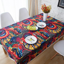 yazi Modern Abstract Art Colorful Pattern Cotton Linen Lace Tablecloth Wedding Party Decor Rectangle Table Cover 140x180cm