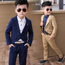 2017 children clothing sets pure color boys blazers wedding sets boys tuxedo suits Student performance clothes free shopping2pcs