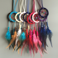 Collar de plumas Estilo Native Indian Dream Catcher Collares Whosale 12 unids/lote Colores Mezclados Dream Catcher Whosale