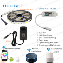 Mini Wifi 5050 RGBW strip controller By Amazon Alexa Google Home Phone WIFI controller Control IOS/Android+5050 RGBW Strip+Power(China)