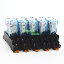 5Pcs Relay  MY2NJ  12V DC Small relay 5A 8PIN Coil DPDT With  Socket Base