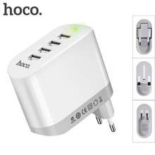 HOCO Universal 4 Ports USB Charger 5V 4.8A Folding Plug EU UK US Smart Charging Adapter for Apple iPhone iPad Samsung Xiaomi(China)