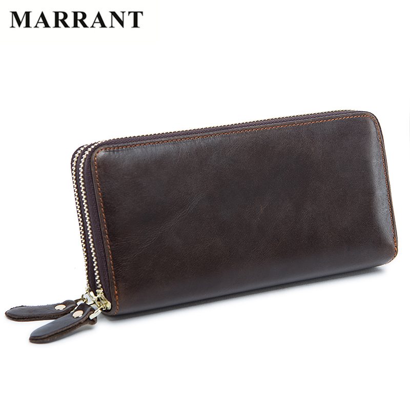 MARRANT 2017 Business Double Zipper Men Clutch Bag Genuine Leather Wallet Men High Quality Wallets Male Big Capacity Long Purses<br><br>Aliexpress