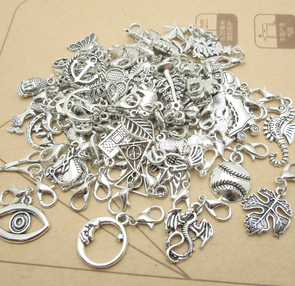 Mix 30pcs Metal charm Lobster clasp pendants European beads fit pandora style Bracelets Necklace DIY Jewelry Making