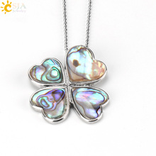 CSJA New Zealand Lucky Four Leaf Clover Oyster Shell Pendants Necklaces Statement Heart Love Abalone Paua Men Body Jewelry E487