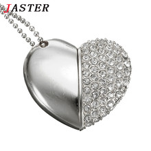 JASTER metal crystal love Heart USB Flash  Drive precious stone pen drive special gift pendrive 8GB/16GB diamante memory stick