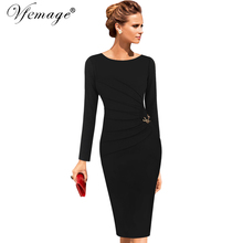 Vfemage Womens Celebrity Elegant Vintage Ruched Pinup Wear To Work Office Business Casual Party Fitted Bodycon Pencil Dress 6136(China)