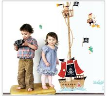 Cartoon Boat Sea Height Measure Wall Sticker for kids Rooms Children Growth Chart wall stickers Boy's Gift Nursery Room Decor