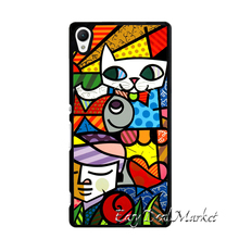 ROMERO BRITTO Cat Dog Cover Case for Sony xperia Z Z1 Z2 Z3 Z4 Z5 Compact C C3 C4 C5 M2 M4 T2 T3 E4 X XA Performance