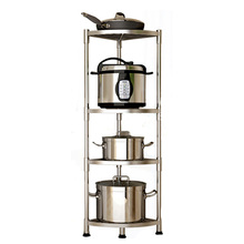 1 304 Stainless Steel Multi-function Storage Rack Home Corner Storage Shelf Multilayer Cookware Organizer Kitchen Holder
