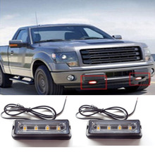 Super mirror 2X4LED Mini Compact side or Front rear surface mount directional Strobe Light all led flashing emergency vehicle