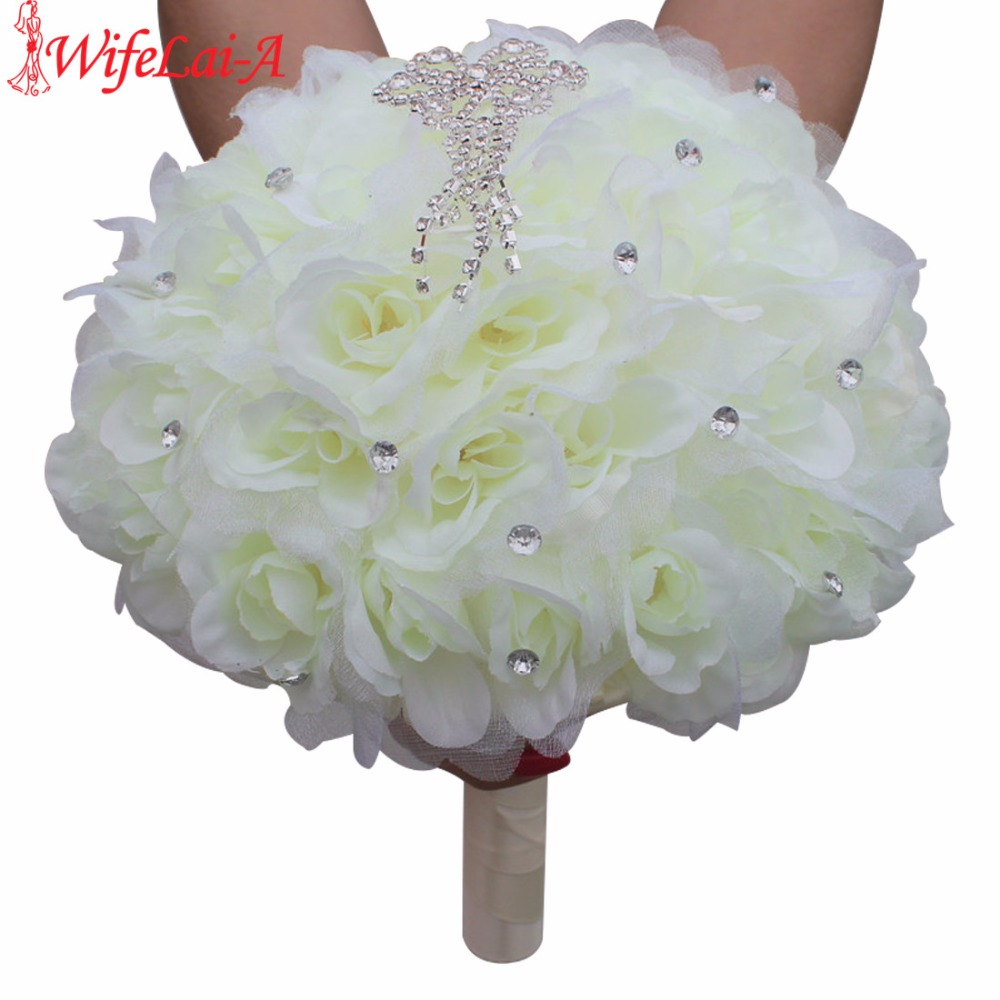 WifeLai-A Elegant Silk Artificial Flowers Tassel Diamond Stitch Wedding Bouquets Bridal Mariage Wedding Flowers Bouquet WF008